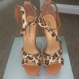 Leopard print platform sandals